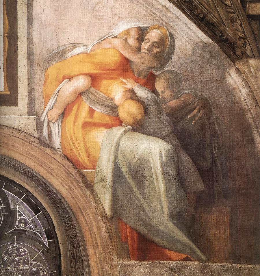 Микеланджело. Сикстинская капелла. Фрески в люнетах. Аса, Иосафат и Йорам (фрагмент)