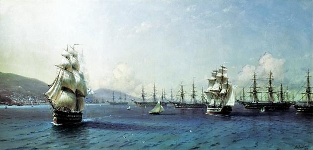 Иван Айвазовский. Черноморский флот в бухте Феодосии перед самым началом Крымской войны. 1854