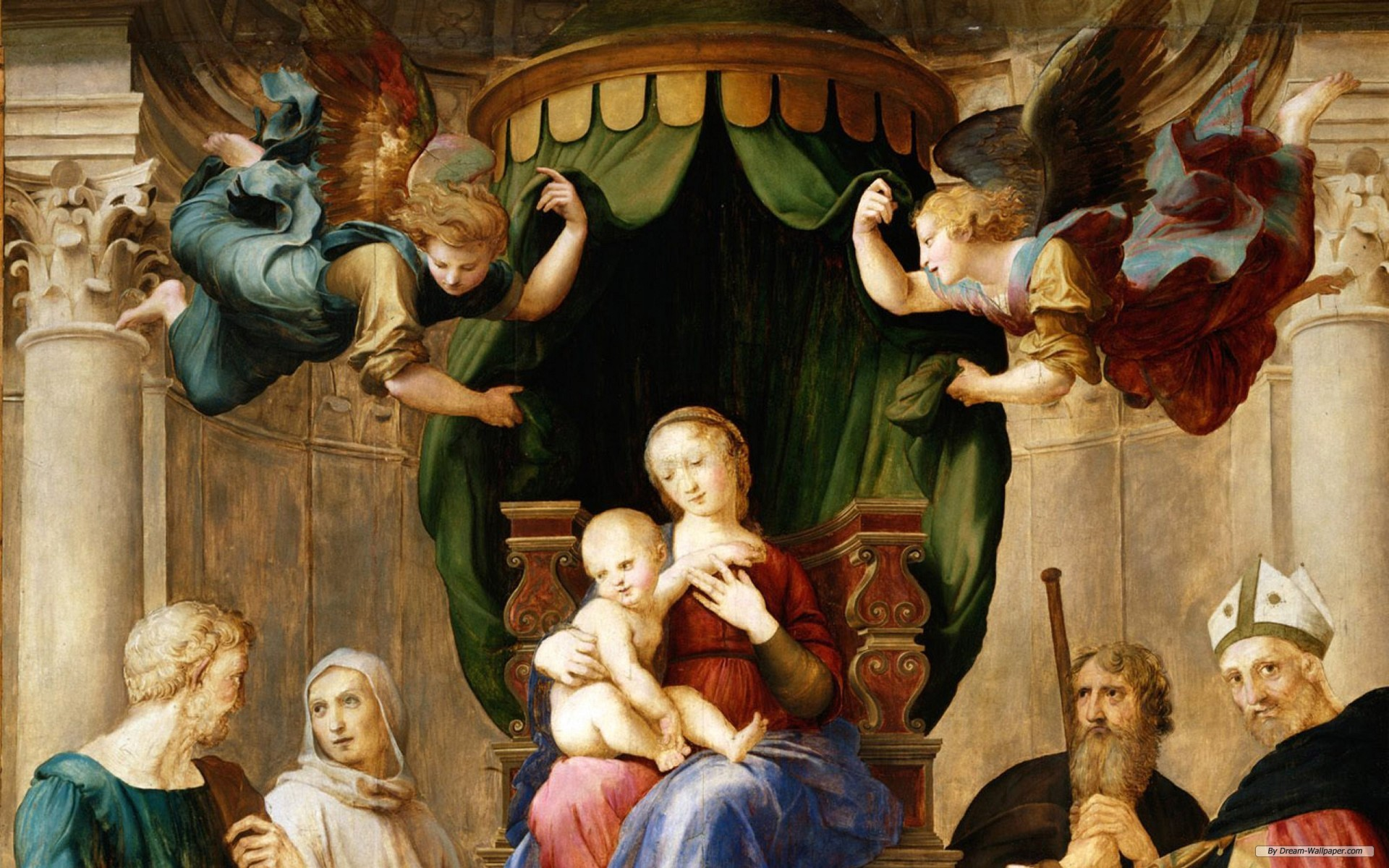 Рафаэль. Мадонна под балдахином (фрагмент). 1507-08