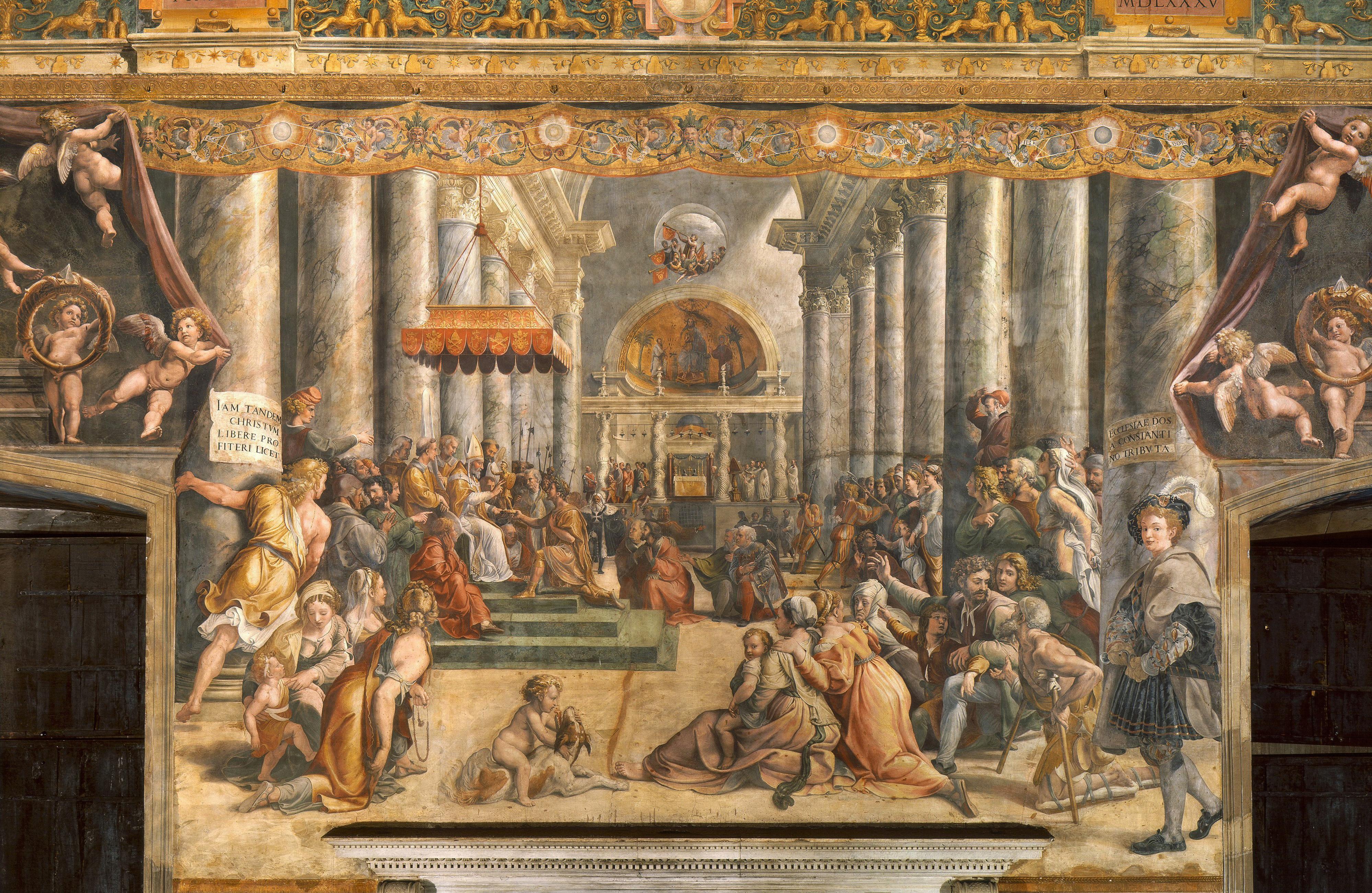 Рафаэль. Пожертвование Константина. 1520