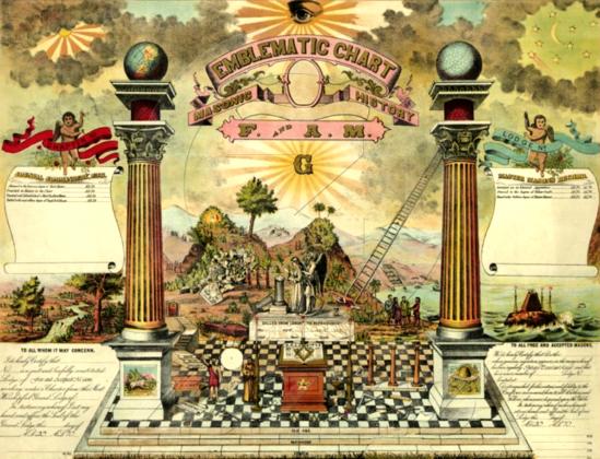 Эзотерический храм Соломона с Небесными столпами масонства