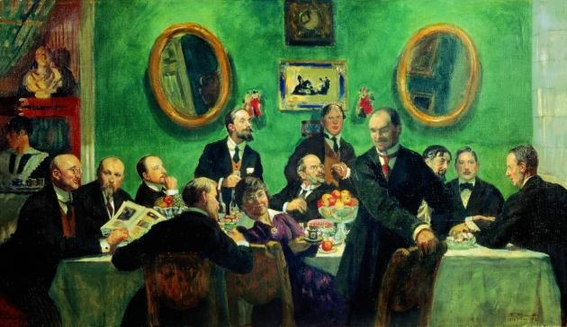 Б. М. Кустодиев. Групповой портрет членов объединения «Мир искусства». 1916—1920