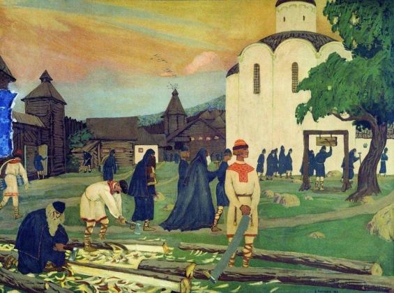Борис Кустодиев. В монастыре. 1906