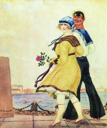Борис Кустодиев. Матрос и милая. 1921