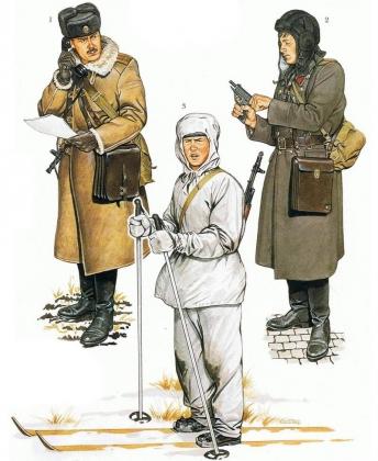 Советская военная форма. Зимняя форма мотострелков. 1 Лейтинан части связи, шапка-ушанка и пальто. 2 Лейтинант БМП. 3 Камуфляжный костюм