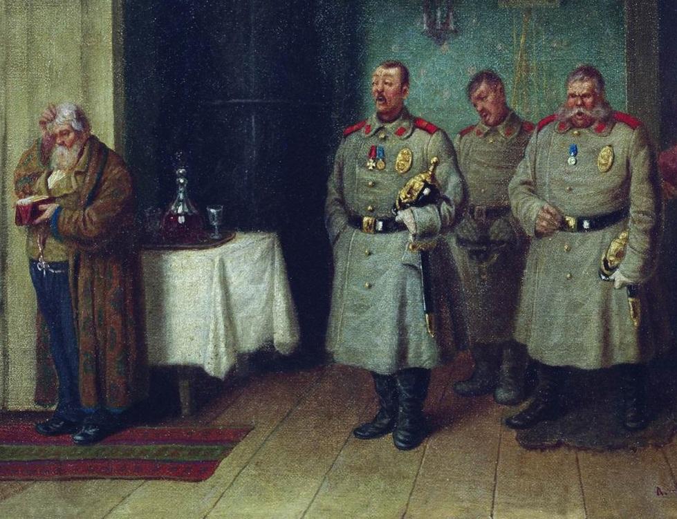 Леонид Соломаткин. Городовые-христославы (фрагмент). 1872