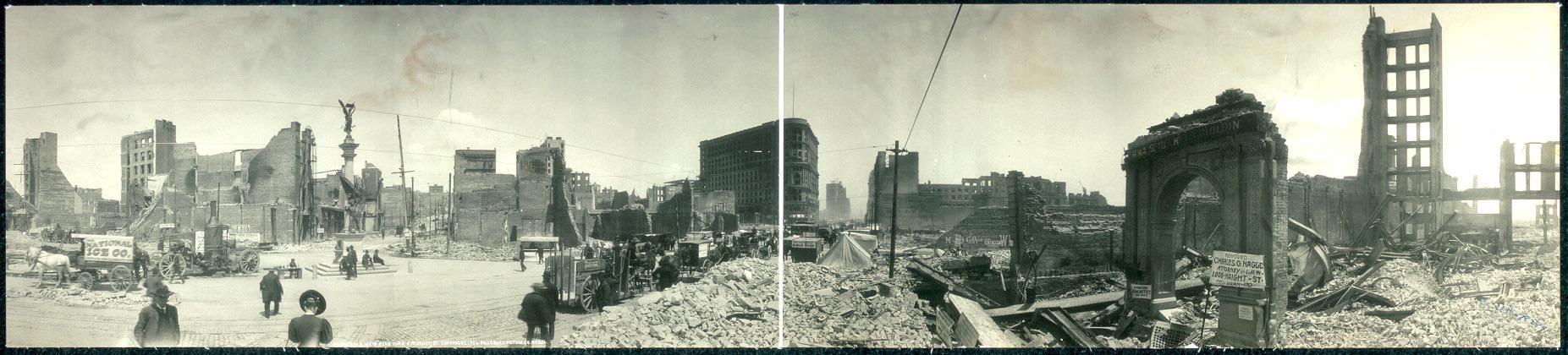 Панорама Сан-Франциско после землетрясения . 1906