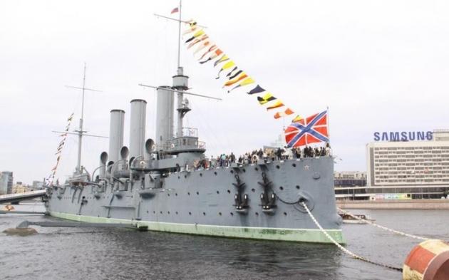 Крейсер «Аврора» на месте стоянки