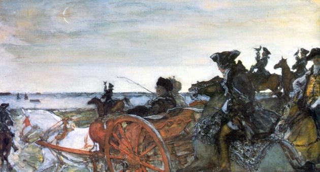 Валентин Серов. Екатерина Вторая на соколиной охоте. 1902