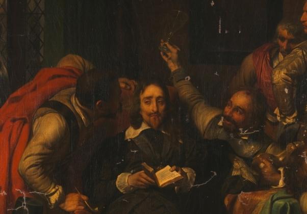 Поль Деларош. Солдаты Кромвеля оскорбляют Карла I, фрагмент. 1837