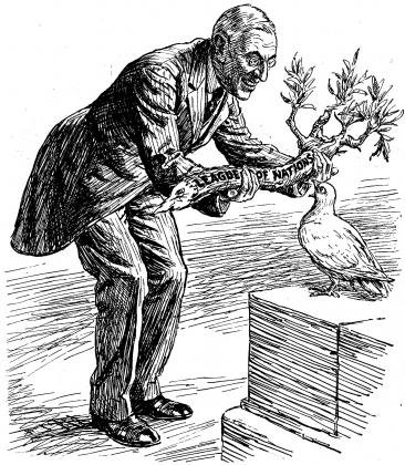 Вудро Вильсон с дубиной мира под названием «Лига наций»