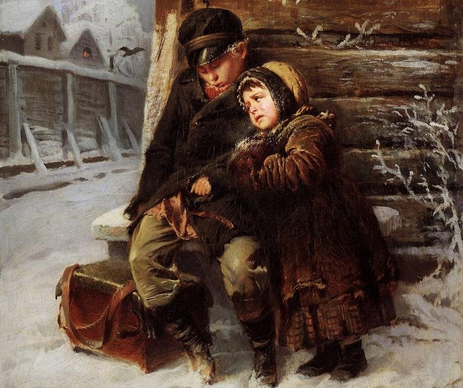 Маленькие Шарманщики (фрагмент). Константин Маковский. 1868