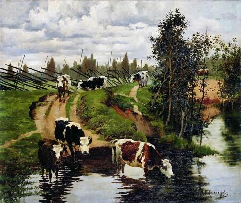 Алексей Степанов.  Коровы на водопое. 1908