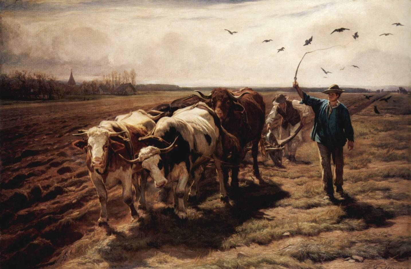 Рудольф Коллер. Пахота на волах. 1868