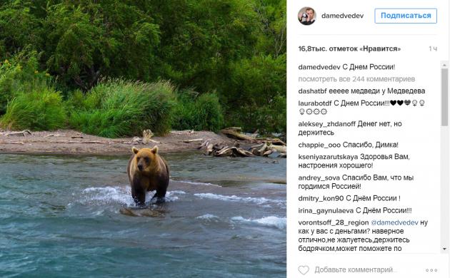 Медведев поздравил граждан с Днем России