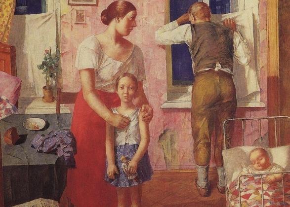 Кузьма Сергеевич Петров-Водкин. Тревога (фрагмент). 1919