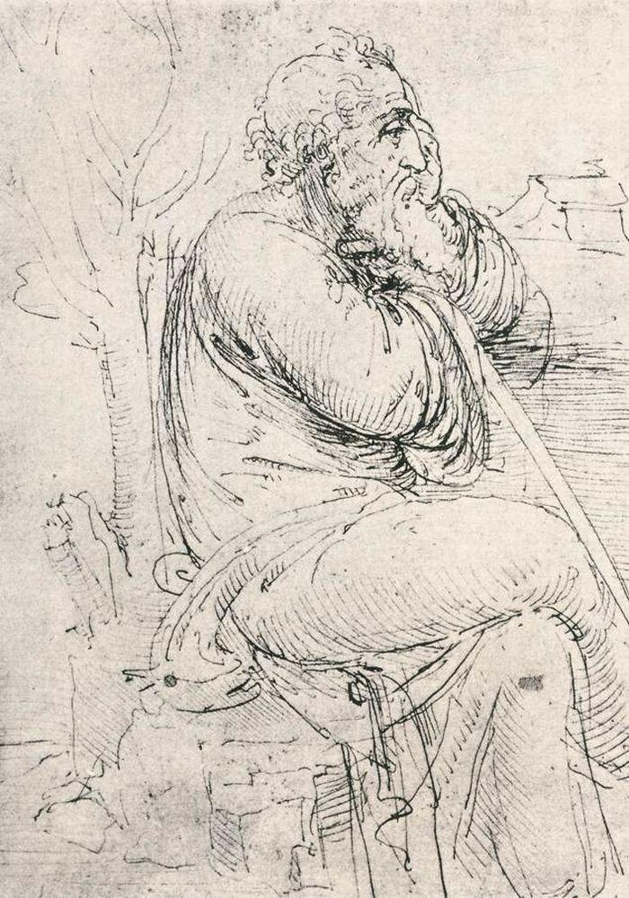 Леонардо да Винчи. Эскиз. Сидящий старик