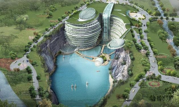 В Китае завершен первый этап строительства уникального отеля