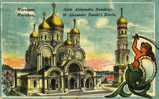 Открытка с видом Александро-Невского православного собора в Варшаве на польском и немецком языках