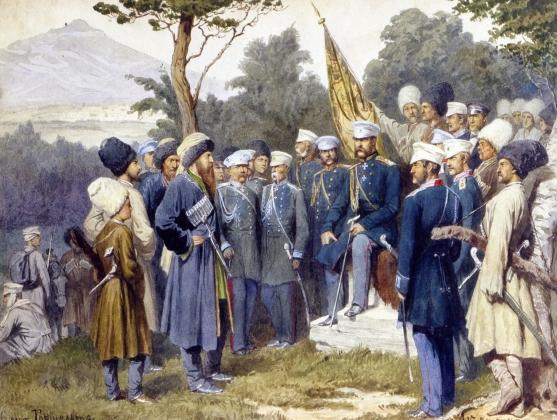 Алексей Кившенко. Имам Шамиль перед главнокомандующим князем А. И. Барятинским, 25 августа 1859 года. 1880