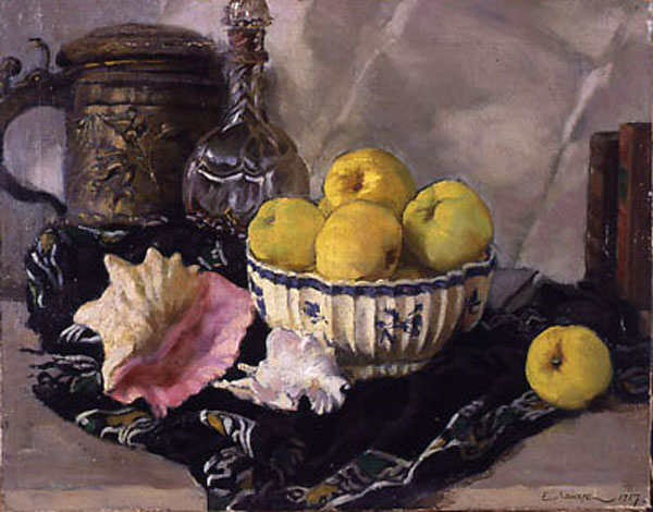 Евгений Евгеньевич Лансере. Натюрморт. Раковина и яблоки. 1917