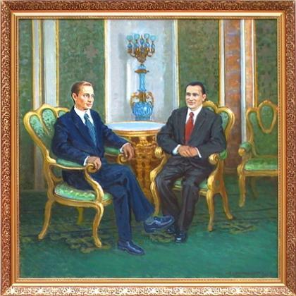 Подарок со смыслом: Путин подарил Медведеву картину с чувашским трактором