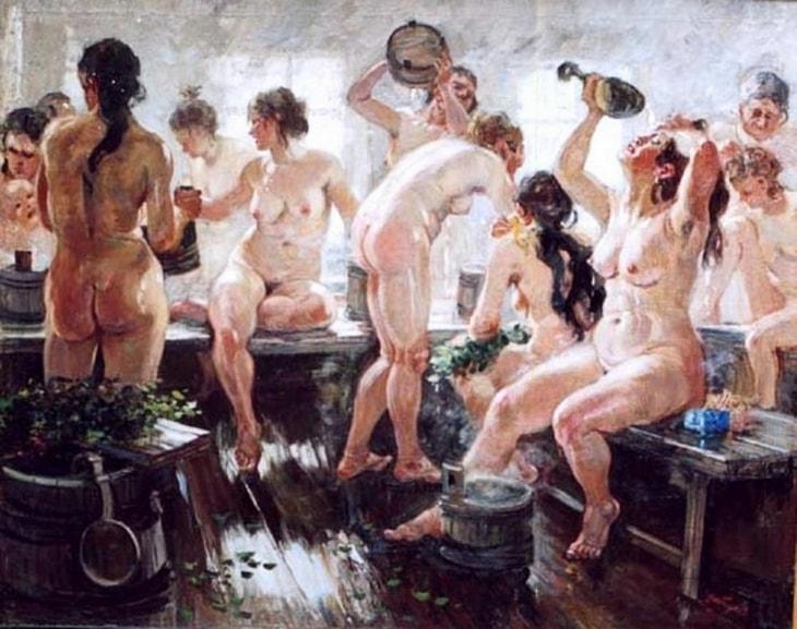 Видео просмотр мытья в бане с рабынями