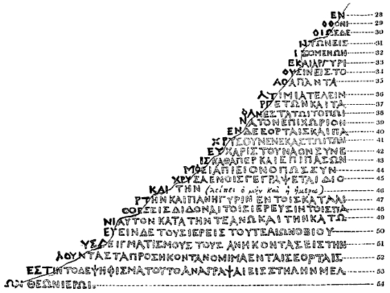 Предложенная Ричардом Порсоном реконструкция потерянного греческого текста (1803)