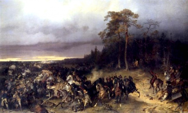 Сражение русских со шведами при деревне Лесной 28 октября 1708 года. А. Коцебу, 1870 год