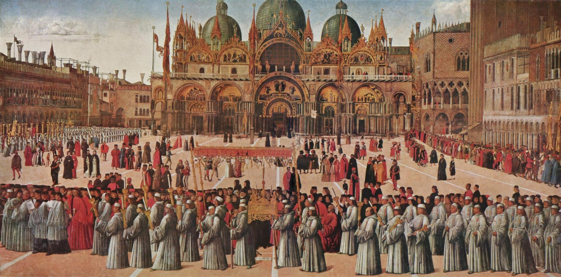 Джентиле Беллини. Процессия реликвии Святого Креста на площади Сан Марко. 1496 год