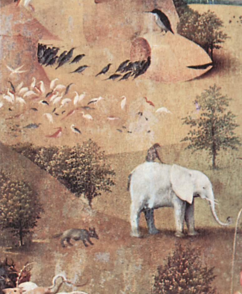 Иероним Босх. Животные в раю. Триптих, левая строрка. Фрагмент. 1510