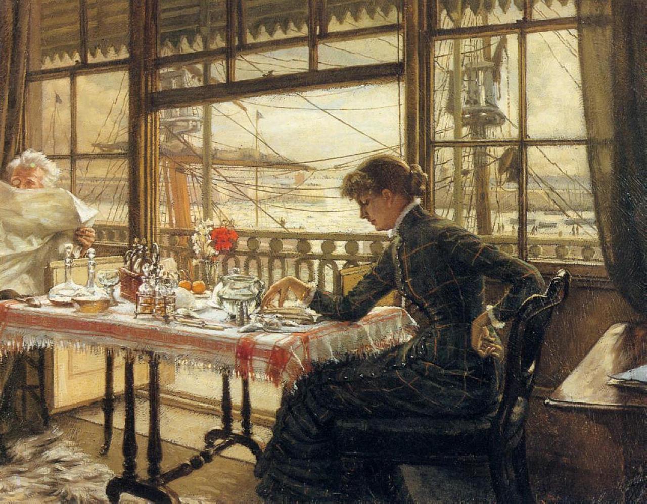 Джеймс Тиссо. Комната с видом на гавань. 1876 — 1878
