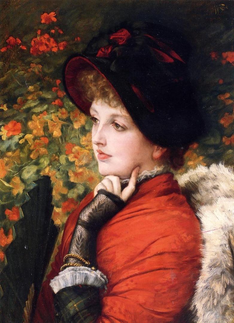 Джеймс Тиссо. Портрет миссис Кэтлин Ньютон в красном платье и черной шляпке. 1880