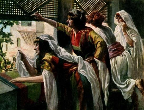 Джеймс Тиссо. Михаль (с другими женами Давида) наблюдает за танцем царя. 1898