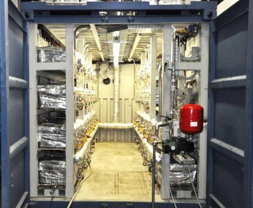 Рис. 4-3. Эволюция установок НЭЯР Е-Сат Андреа Росси: модуль 250 кВт тепловой мощности 1 МВт ТЭЦ E-Cat, который монтируется в стандартном контейнере (вид изнутри)