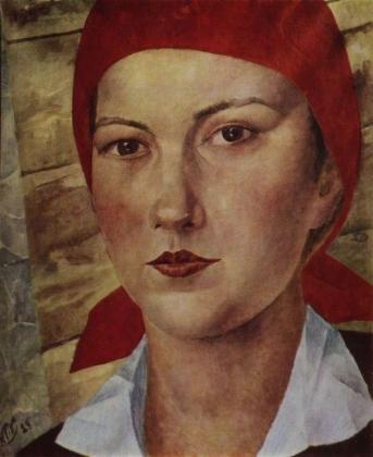 Кузьма Петров-Водкин. Девушка в красном платке (Работница). 1925