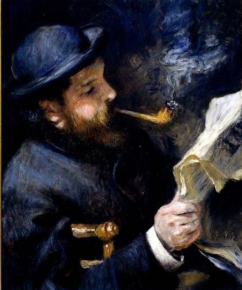 Ренуар. Клод Моне читает газету.  1872