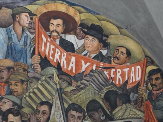 Диего Ривера. История Мексики. До 1945. Мураль, изображающий Сапату