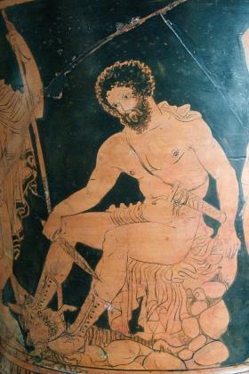 Одиссей, получающий наставления Тиресия. Краснофигурная роспись на кратере. IV век до н. э