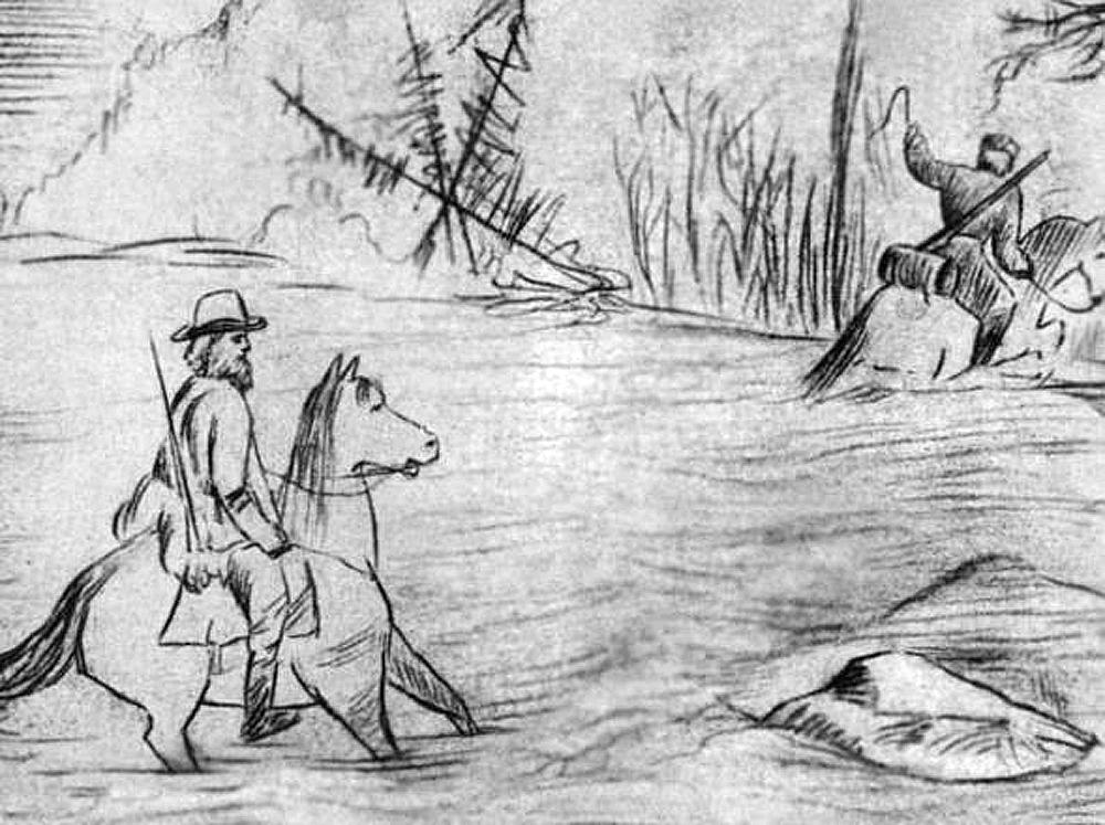 Петр Кропоткин. Рисунок, сделанный во время сибирской экспедиции. 1865