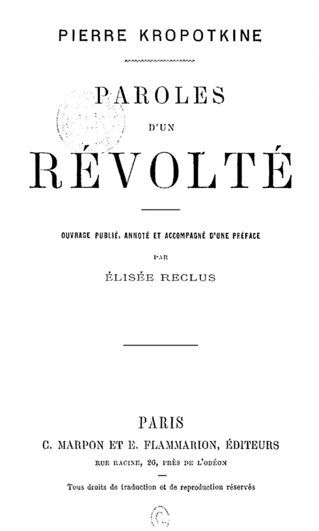 «Слова бунтаря». Первое издание на французском языке