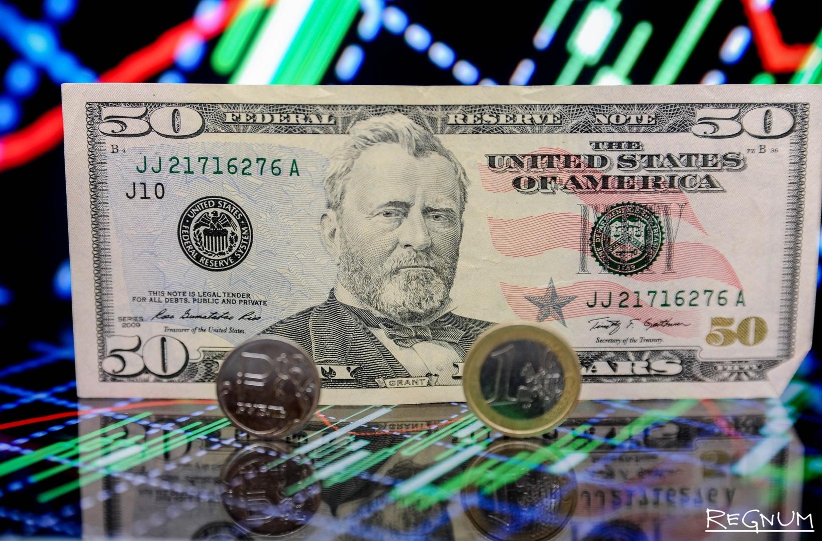 Отношение доллара и евро к рублю
