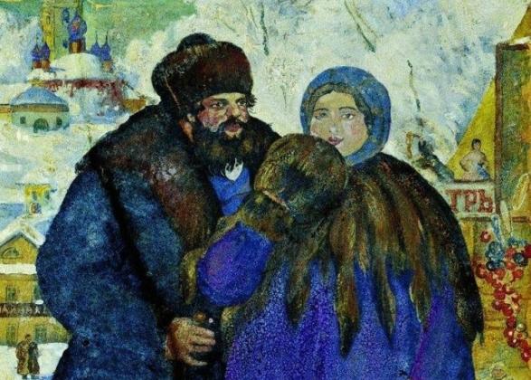 Борис Кустодиев. Купец с купчихой (фрагмент). 1914