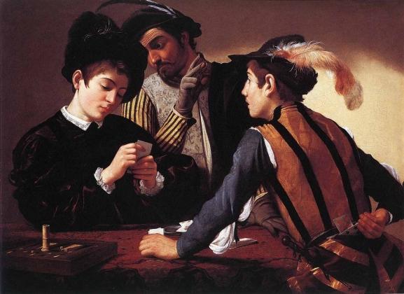 Караваджо. Шулеры. 1596