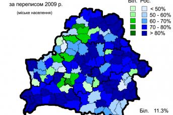 Карта языковой переписи городского населения Белоруссии. 2009