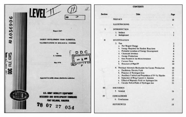 Рис. 5. Отчет Министерства энергетики США по трансмутации химических элементов в биологических системах (1978 г.)