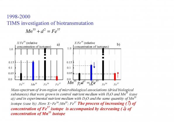 Рис. 12. Измерение соотношения марганца-55 и железа-57 в растворе до (слева) и после (справа) трансмутации с помощью термоионизационной масс-спектрометрии