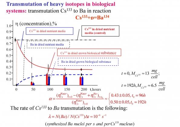 Рис. 14. Динамика процесса трасмутации цезия-133 в барий-134 в течение 192 часов с помощью анаэробной культуры
