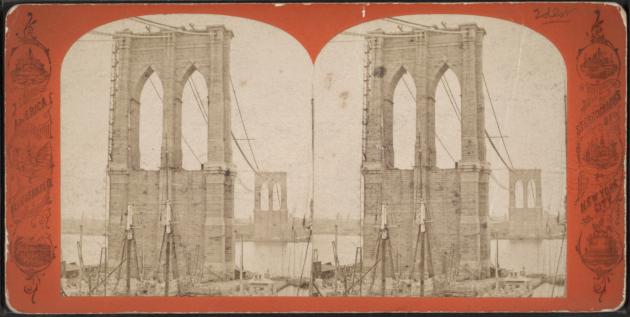 Башни Бруклинского моста. Из коллекции фотографий для стереоскопа Роберта Дэнниса, 1867-72