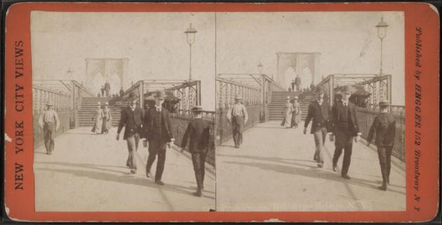 На Бруклинском мосту. Из коллекции фотографий для стереоскопа Роберта Дэнниса, 1892